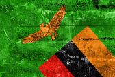 Zambia Flag painted on grunge wall — Zdjęcie stockowe