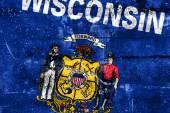 Wisconsin State Flag painted on grunge wall — Zdjęcie stockowe