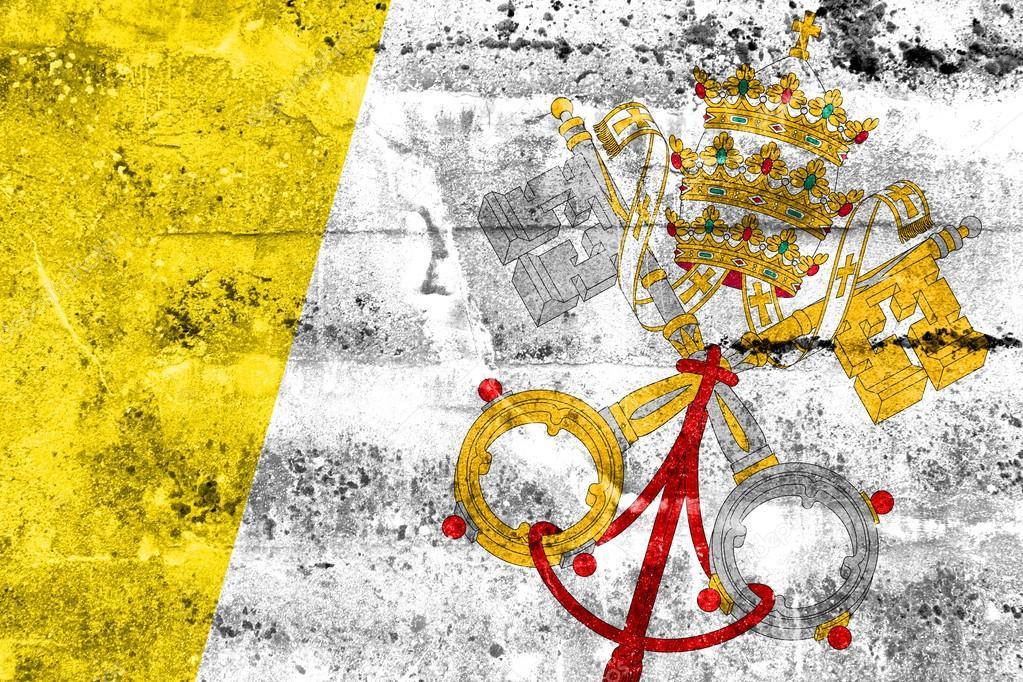 Ciudad del vaticano bandera pintada en la pared de grunge - Cabeceras pintadas en la pared ...