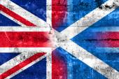 Scotland and United Kingdom Flag painted on grunge wall — Stock fotografie