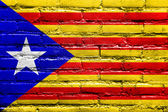 Independent Catalonia Flag painted on brick wall — Stok fotoğraf