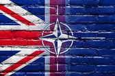 Nato a velká británie vlajka maloval na zdi — Stock fotografie