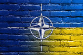 Nato and Ukraine Flag painted on brick wall — Stock fotografie