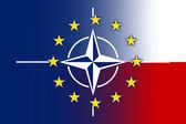 Nato, EU and Poland Flag — Stock fotografie
