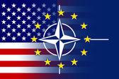 Nato, EU and USA Flag — Stock Photo