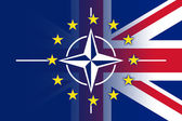 Nato, EU and UK Flag — Stock fotografie