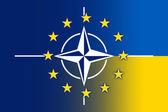 Nato, EU and Ukraine Flag — Stock fotografie