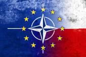 Grunge Nato, EU and Poland Flag — Photo
