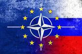 Grunge Nato, EU and Russia Flag — Stock Photo