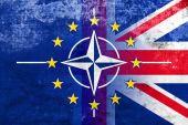 Grunge Nato, EU and UK Flag — Photo