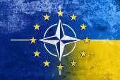 Grunge Nato, EU and Ukraine Flag — Stock fotografie