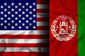 Waving Afghanistan and USA Flag — Stock Photo