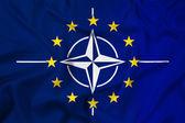 Nato ve ab dalgalanan bayrak — Stok fotoğraf