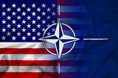 Waving Nato and USA Flag — Stockfoto