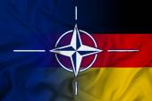 Waving Nato and Germany Flag — Foto Stock