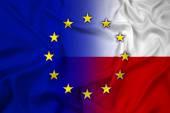 Waving Poland and European Union Flag — Photo