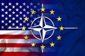 Waving Nato, EU and USA Flag — Stockfoto