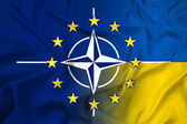 Waving Nato, EU and Ukraine Flag — ストック写真