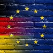 Germany and European Union Flag painted on brick wall — Stock Photo #53998577
