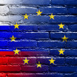 Russia and European Union Flag painted on brick wall — Stock Photo #53998669
