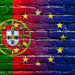 Portugal and European Union Flag painted on brick wall — Stockfoto #53998701