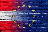 Austria and European Union Flag painted on brick wall — Foto de Stock