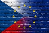 Czech Republic and European Union Flag painted on brick wall — Stock Photo