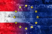 Austria and European Union Flag painted on grunge wall — Stock Photo