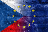 Czech Republic and European Union Flag painted on grunge wall — Stock Photo