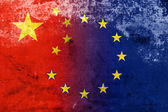 China and European Union Flag with a vintage and old look — Stock Photo