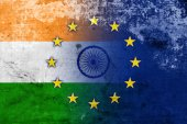 India and European Union Flag with a vintage and old look — Stock Photo
