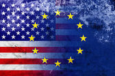 United States and European Union Flag with a vintage and old look — Stock Photo