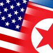 USA and North Korea Flag. Close up. — Stok fotoğraf #54487535