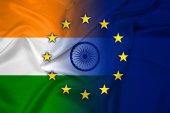 Ondeando bandera india y la Unión Europea — Foto de Stock