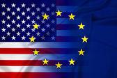 Bandeira dos estados unidos e união europeia — Fotografia Stock