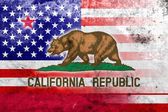 USA and California State Flag with a vintage and old look — Stock Photo