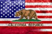 Сша и Калифорния заявляют флаг со старинным и старым взглядом — Стоковое фото