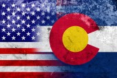 USA and Colorado State Flag with a vintage and old look — Stock Photo