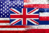 USA and Hawaii State Flag with a vintage and old look — Stock Photo