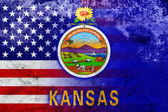 USA and Kansas State Flag with a vintage and old look — Stock Photo