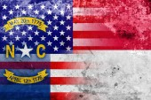 USA and North Carolina State Flag with a vintage and old look — Stock Photo
