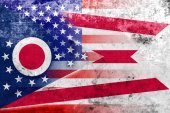 USA and Ohio State Flag with a vintage and old look — Stock Photo