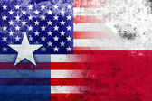 USA and Texas State Flag with a vintage and old look — Stock Photo