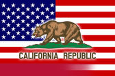 USA and California State Flag — Stock Photo