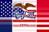 USA and Iowa State Flag — Stock Photo