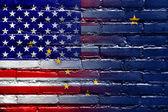 USA and Alaska State Flag painted on brick wall — Stock Photo