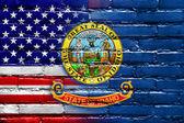 USA and Idaho State Flag painted on brick wall — Stock Photo