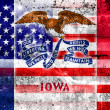 USA and Iowa State Flag painted on grunge wall — Stock Photo #55304499