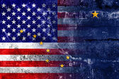 USA and Alaska State Flag painted on grunge wall — Stock Photo