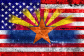 USA and Arizona State Flag painted on grunge wall — Stock Photo